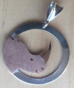 Gold Rhino head pendant