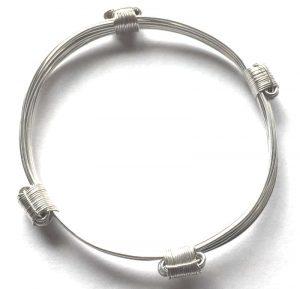 4 knot petite silver african elephat hair bracelet