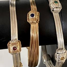 African elephant hair bracelets with gemstones