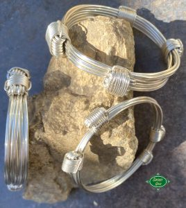 The 3 standard widths of elephant hair knot bracelets. Shown here with 4 knots each in sterling 935 silver.