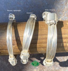 Comparison of widths on silver bracelets and bangles